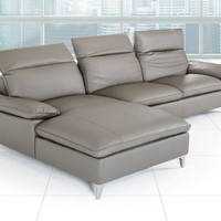 Divani Casa Dandelion Modern Dark Grey Eco-Leather Sectional Sofa