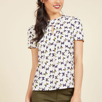 Yard Work and Dedication Top in Butterflies | Mod Retro Vintage Short Sleeve Shirts | ModCloth.com