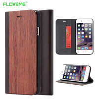 iPhone 6 6s / Plus Real Wooden Flip Case For iPhone 6 6s Natural Wood