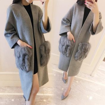 fashion cashmere brand autumn grey jacket  women vintage 2017 winter black long wool coat designer  fox fur pocket luxury 6XL
