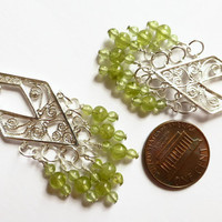Peridot earrings, Green peridont sterling silver diamond shape filigree earrings, UK shop