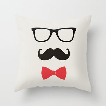 STAY CLASSY - MUSTACHE & BOW TIE  Throw Pillow by Allyson Johnson