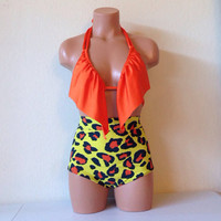 Ruffle bikini top and funky leopard retro bottoms