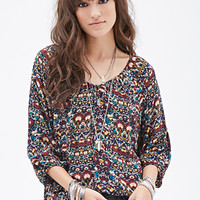 FOREVER 21 Floral Foliage Print Top Navy/Burgundy