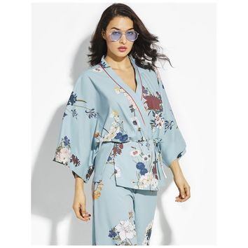 Fashion Mint Green Floral Kimonos