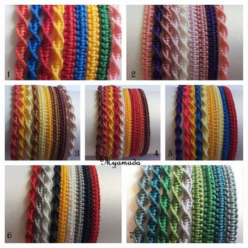 9 Simple micromacrame bracelets / free shipping