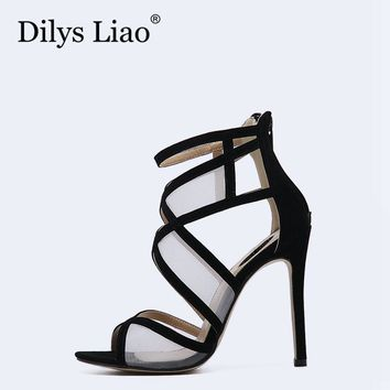 Dilys Liao Hot Sexy Black White Mesh Cross Patchwork Party Dress Open Toe Stiletto Hig