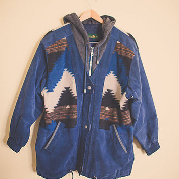 90's Tribal Aztec Blue Suede Leather Jacket Hooded Brown Women's Size Medium  Insulated Fully Lined Coat Soft Leather 90s