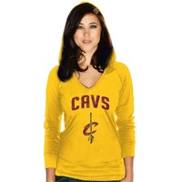 Women's Cleveland Cavaliers Majestic Threads Gold Wordmark V-Neck Hooded T-Shirt