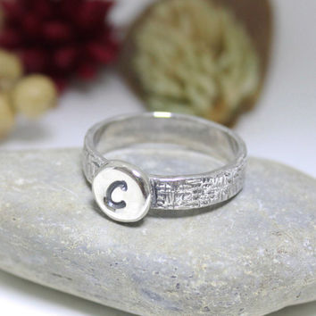 Wide Band Custom Initial Letter Ring/ Personalized Ring/ Stacking Ring/ Hammered Ring
