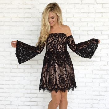 Cheers & Lace Mini Dress in Black