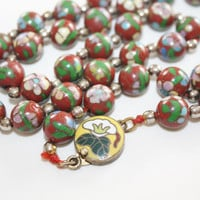 Vintage Necklace Enamel Cloisonne Red Chinese Bead 1940s Jewelry