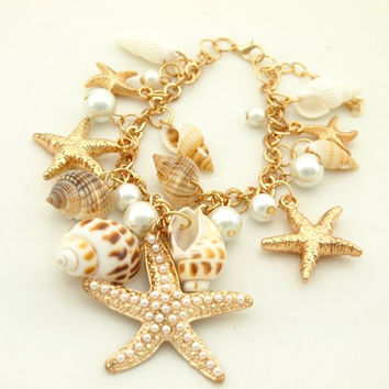 Starfish Seashell Mermaid Charm Bracelet