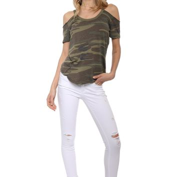 Z Supply The Camo Off The Shoulder Tee