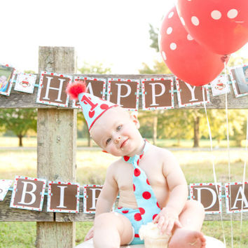 Baby Boy / Toddler Party Hat,  Necktie & Diaper Cover Aqua and Red Polka Dot Circus Print