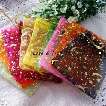 100pcs/lot 9*12cm Assorted Color Printed Golden Star&Moon Organza Bags Drawstring bags Beads Pack Gift Pouches