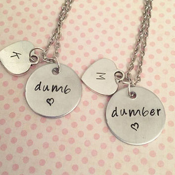 Dumb and Dumber Best Friends Necklaces - Dumb and Dumber - Best Friends Forever Jewelry - Sister Jewelry - Personalized Jewelry