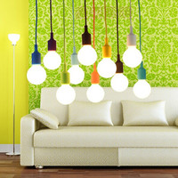 Modern Colorful Silicon E27 Home Wire Base 12 color DIY LED bulb Hanging Ceiling Lamp Light Glass Pendant Lighting Decor 100cm-in Pendant Lights from Lights & Lighting on Aliexpress.com | Alibaba Group