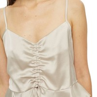 Topshop Ruby Ruched Satin Camisole Top | Nordstrom