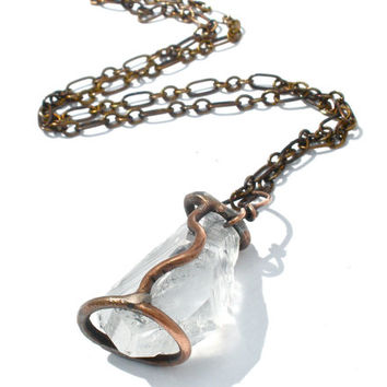 Caged Crystal Quartz Point Necklace in Earth Toned Copper- Gemstone Pendulum or Amulet