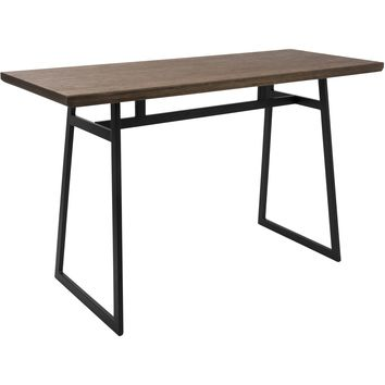 Geo Industrial Counter Table with Brown Wood Top, Black