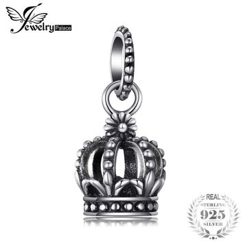 Jewelrypalace 925 Sterling Silver Royal Crown Cubic Zirconia Dangle Beads Charms Fit Bracelets Gifts For Women Fashion Jewelry