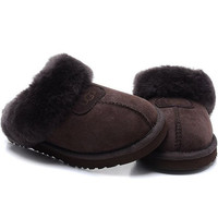 """UGG"" Fashion Women Casual Wool Slipper Shoes Maroon"