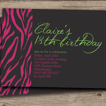 Zebra Birthday Invitation Birthday Party Invitation Baby Bridal Shower Invitation Hot Pink & Lime DIY Digital or Printed - Claire Style