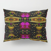 Golden abstracte pattern landscape Pillow Sham by Pepita Selles