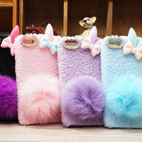 Cute Rabbit Ear Bushy Tail Fur Leather Phone Case iPhone 4 4S 5 5s iphone 5c samsung galaxy s3 s4 note 2 note 3 Luxury Fashion case cover