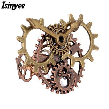 Fashion Steampunk Gears Clock Style Ethnic Rings For Women Girls 2017 Vintage Steam Punk Adjustable Jewelry Anillos Mujer Hombre