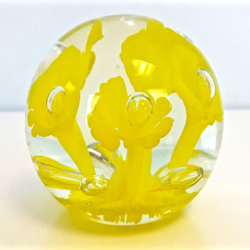 Vintage Blown Glass Paperweight Yellow Flowers, Hand Blown Art Glass Paperweight, Murano Style Glass Paperweight, Bright Yellow Home Decor