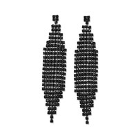 Stunning Black Plated Drop Fashion Earrings with Black Crystal