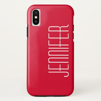 Colorful Modern Red Personalized Jumbo Name iPhone X Case