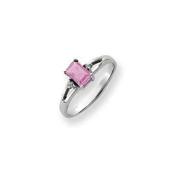 0.024 Ct  14k White Gold 6x4mm Emerald Cut Pink Tourmaline Diamond Ring I2 Clarity and I/J Color