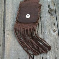 Buckskin belt bag Leather phone case Iphone belt bag Smartphone hip bag Fringed leather belt bag