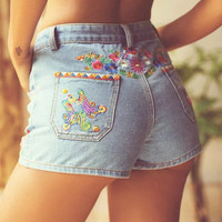 Embroidery Weathered Rinsed Denim Denim High Waist Pants Shorts [6158983492]