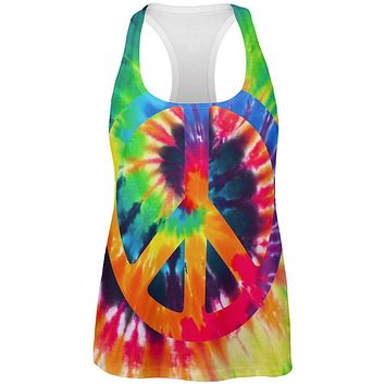 Peace Sign Tie Dye All Over Womens Work Out Tank Top