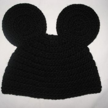 Custom crochet Mickey Mouse ears beanie hat photo prop