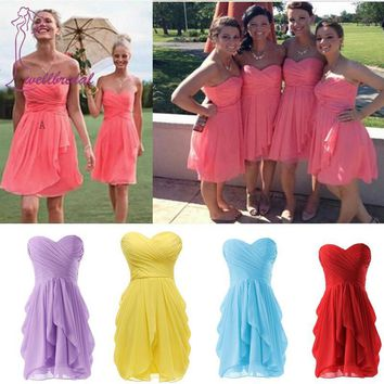 Sexy 2016 Romantic Cora Colored Short Chiffon Mini Short Dress Wedding Party Dress Real robe 2016 Bridesmaid Dresses