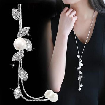 Simulated Pearl Silver Long Chain Pendant Necklaces