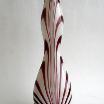 Carlo Moretti Murano Opaline Glass Vase purple amethyst feather design