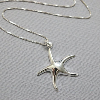 Beach Wedding Necklace, Sterling Silver and CZ  Starfish Pendant on Sterling Silver Necklace Chain, Beach Wedding Jewelry