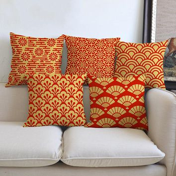 Orange Yellow Geometrics Floral Sofa Throw Pillows Cases Square Fashion Flower Dragonfly Print Housse de coussin Pillow Cover