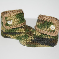 Infant Brown and Camo Baby High top Booties