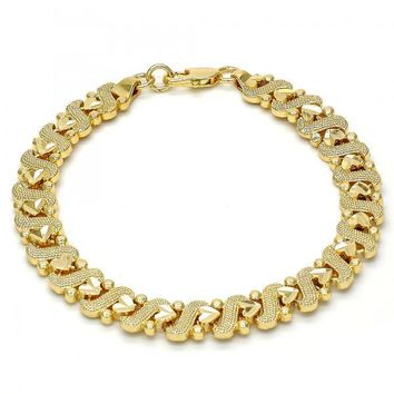 Gold Tone 03.192.0027.07.GT Fancy Bracelet, Heart Design, Diamond Cutting Finish, Gold Tone