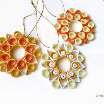 Christmas Quilling Decoration Set of 3 Yellow Nuanced Quilled Snowflakes, Christmas Decoration