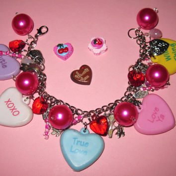 Valentine's Day Charm Bracelet Conversation Candy Heart Charms Beads Trinkets Sweetheart Romantic Love OOAK Statement Piece