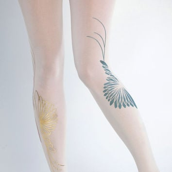 NEW Yin Yang tights green & gold on offwhite one size by galstern