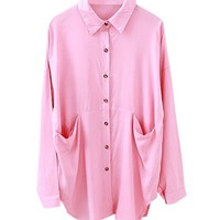 Pure Pink Blouse with Big Pockets Front